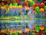 Lakeside Reflections in Autumn