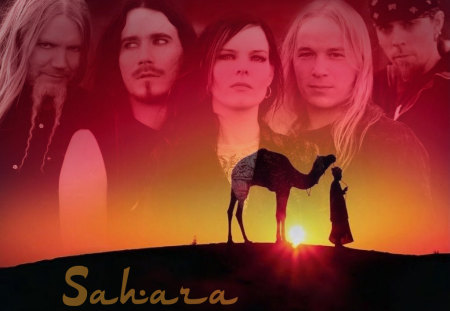 Sahara - red, desert, music, yellow, sunset, sahara, nightwish, finnish, gothic, dark queen