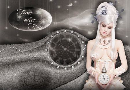 Time after Time - fantasy, universe, time, clock, lady