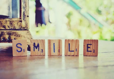 Smile! - words, smiles, wood, scrabble, tiles