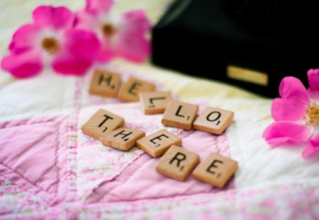 Hello There..! - words, flowers, hello, scrabble, greetings, tiles