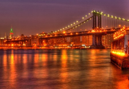 Manhattan bridge Lights - bridge, golden, manhattan, lights, night