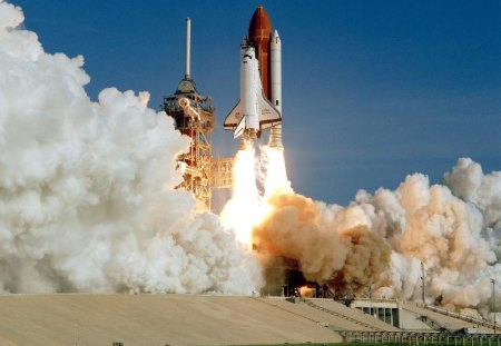 DISCOVERY LAUNCHES - fire, smoke, shuttle, launchpad, nasa, rockets