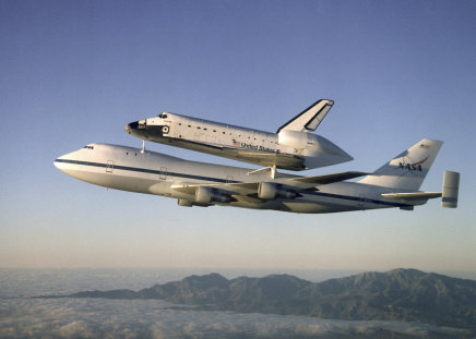 ATLANTIS atop the SHUTTLE CARRIER - flight, shuttle, plane, carrier, aircraft, white, nasa