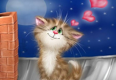 Cartoon Cat - hearts, stars, cat, sky, pink, moon, cartoon, love