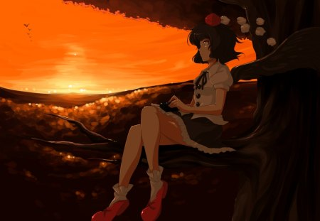 Shameimaru Aya - tengu, orange, game, sunset, twilight, shameimaru aya, short hair, girl, touhou, beauty