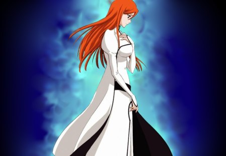 Inoue Heart - dress, miss, anime, darkness, love, guard, rukia, long hair, protect, light, friends, feelings, inoue, blue, aizen, bleach, orhime, minds, ichigo, hollow, heal, memories, battle, girl, soul socity, heart