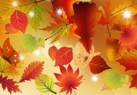Energy of Autumn - autumn, butterfly, color, firefox persona, gold, fall, glow, stars, orange, leaves