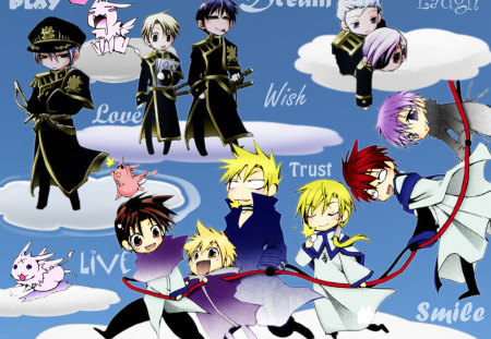 Live Your Life - teito, clouds, play, anime, dream, friends, mikage, live, trust, life, wish, laugh, 07-ghost, smile, peace, sky, chibi, cute, frau