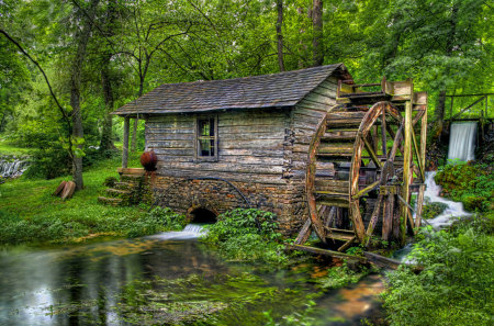 Water Mill-HDR - pretty, house, grass, mill, beautiful, old, brook, photography, nice, green, montana, water mill, beauty, river, wheel, reflection, water wheel, forest, lovely, spring, country, trees, tree, water, cool, hdr, nature, landscape