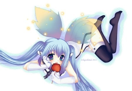 Nymph - pretty, angeloid, the angeloid of clockwork, sora no otoshimono, nice, aqua, beauty, chain, wings, twintail, black, sexy, cute, cool, awesome, white, glow, movie, nymph, beautiful, forte, hot, blue eyes, light, blue, apple, outfit, garterbelt, choker, transparent, angel, leggings, blue hair, uniform, laying