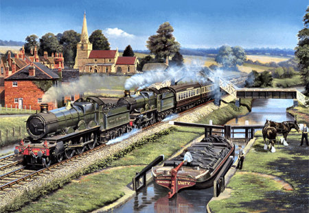 Sharing the Moment - Train F2 - art, canal, barry freeman, church, artwork, boat, train, painting, scenery, tracks, freeman