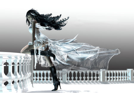 Rinoa Heartilly - ffviii, cg, final fantasy, final fantasy viii, long hair, rinoa, rinoa heartilly, lone, ff8, dress, boots, video games, final fantasy 8, girl, female, black hair