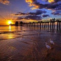 Pier at Sunset Broken sunlight
