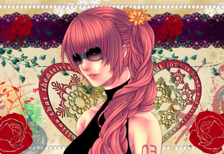 Megane Luka - red, vocaloid, colorful, shade, glasses, colors, black, roses, megurine, laces, cool, love, flowers