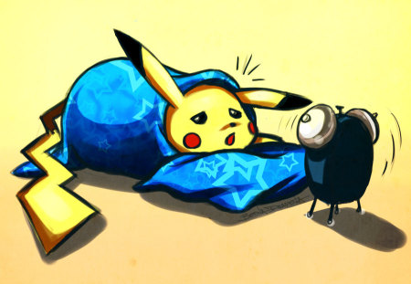 wake up pikachu! - sleep, alarm, clock, pokemon, bed, pikachu