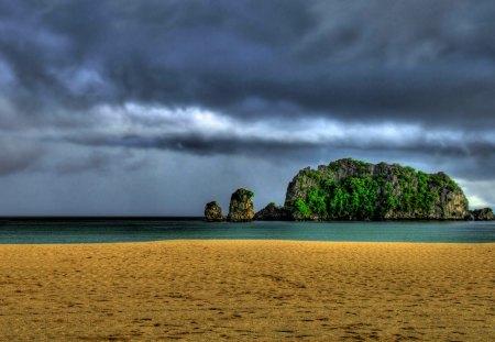 ROCKY ISLAND - rock, ocean, sky, island, beach, trees