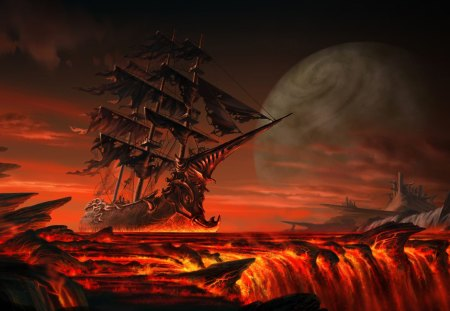 fantasy ship - fantasy, ship, dark, red, 3d