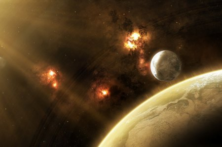 dark space - planets, sci fi, 3d, space