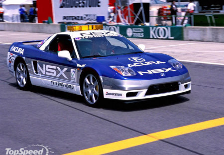 acura nsx - silver alloys, mid engine, white, blue, two seater, pit lane, race car, race modified