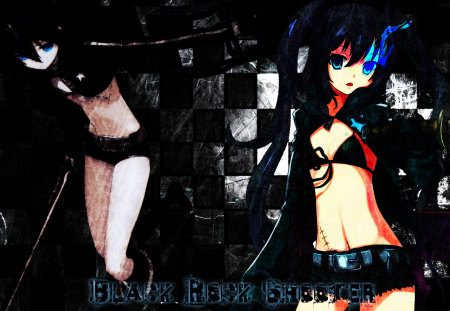Black★Rock Shooter - pretty, nice, anime, aqua, beauty, checkered, anime girl, weapon, brs, sword, twintail, black, sexy, aqua eyes, cute, cool, jacket, awesome, bikini top, white, movie, beautiful, thighhighs, blade, black rock shooter, shorts, hot, blue eyes, black hair, ova, bikini, girl, katana