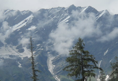 snow mountain - snow, shilong valley, mountain, manali