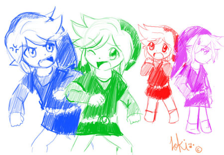 I wish you guys would stop Fighting! - red, colorful, video games, green, vio, zelda, fourswords, blue, stop fighting