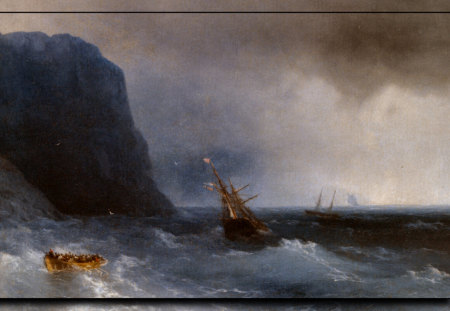 The Survivors - art, aivazovsky, ocean, waves, storm, artwork, sea, painting, wide screen, seascape, scenery, ivan aivazovsky, ship wreck