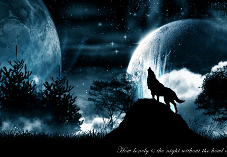 Howling Wolf - pulze, planets, space, background, black, trees, clouds, fog, mist, wallpaper, quote, desktop, wolf, photoshop, howling, blue
