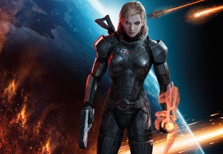 Mass Effect 2 Full HD - war, hd, soldier, comet, game, woman, galaxy, fire, full hd, gun, girl, mass effect, dark, 1080p
