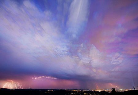 Purple Sky - flash, sky, lightning, purple