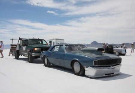 Camaro At Salt Flats - gm, race, push, bowtie