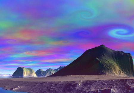 trippy desert sky - colorful, sky, hippie, wow, desert, trippy