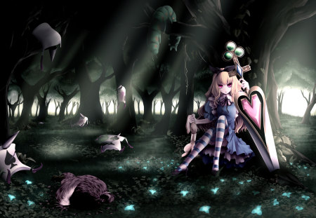 Alice in Wonderland - blonde hair, kill, thighhighs, dark, sexy, dress, striped thighhighs, big sword, alone, night, female, rabbit, wonderland, sunrise, flowers, hot, sword, alice in wonderland, sitting, cool, alice, hair bow, ard, anime girl