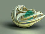 Abstract White Shell Encases Turquoise Gem