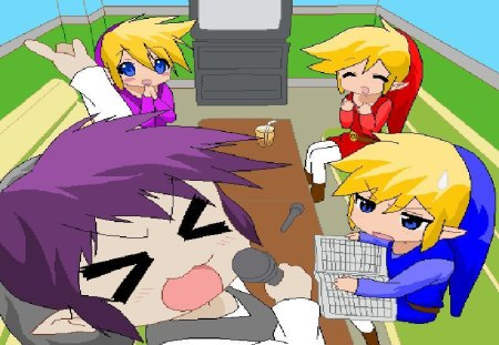 Four Swords Star-Shadow link can't sing - red, shadow, video games, lucky star, microphone, four swords, vio, zelda, blue