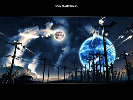 Electric Night - earth dreamscape, power poles, night sky, moon, second earth