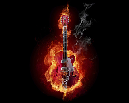 FIRE GITAR! - fire, fantasy, 3d, cool, entertainment, abstract, other