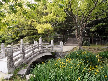 Castle Garden WDS - flowers, castles, gardens, photography, water, trees, bridges, japan, honshu