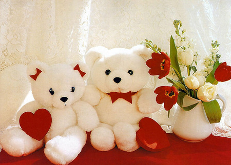 love teddys - white, teddy, Valentine, Valentines, Valentines Day, love, cute