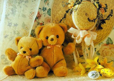 teddys in spring - hat, teddy, cute
