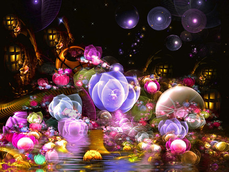 Sweet Night - flowers, color, colorful, fantasy, lights, bubbles, balls
