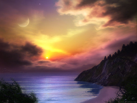 Sunset - color, art, sea, moon, clouds, fantasy, ocean, sky, sunset, mountains