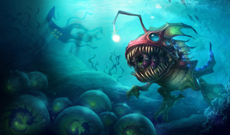 KogMaw Deep Sea - league, fish, kog, strange, lol, bug, egg, legends, water, swim, beast, monster, kogmaw, maw, light, blue