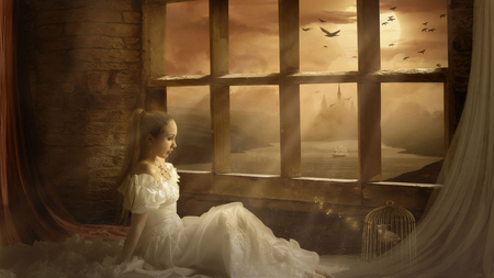 Melodious Fantasy - melodious, fantasy, bird cage, river, girl, sunrays, white gown, windows