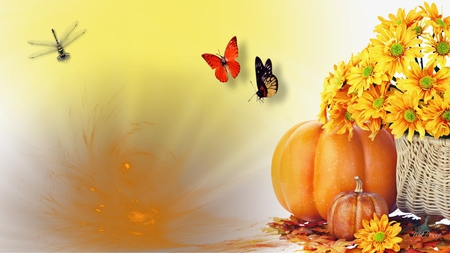 Harvest Festival - autumn, dragonfly, flowers, harvest, firefox persona, gold, fall, yellow, pumpkin, butterflies