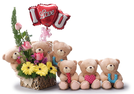 I love you!!! - beauty, lovely, love, harmony, bears, cool, flowers, pretty, beautiful, roses, heart, rose, bouquet, ribbon, holiday, gerbera, gerber, nice, flower, balloon, colors, i love you, photography, teddy bears, ikebana, toys