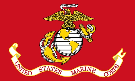 THE MARINE CORPS FLAG - military, flag, symbol, marines, red, united states