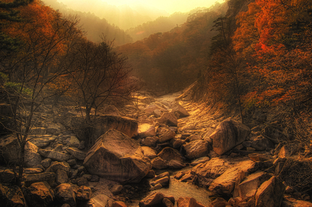 Autumn landscape - rocks, image, autumn, view, beautiful, trees, sky, water, mountains, nature, river, sesons, landscape