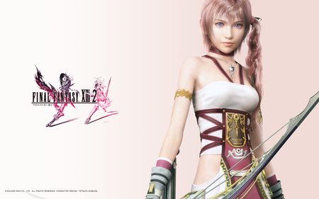 Serah Farron - beauty, warrior, cool, bow, hot, uniform, necklace, square enix, awesome, archer, serah farron, blue eyes, tail, digital, beautiful, final fantasy xiii-2, armor, farron, final fantasy 13-2, pink, cg, sexy, pink hair, final fantasy 13, game, nice, outfit, final fantasy, serah, final fantasy xiii